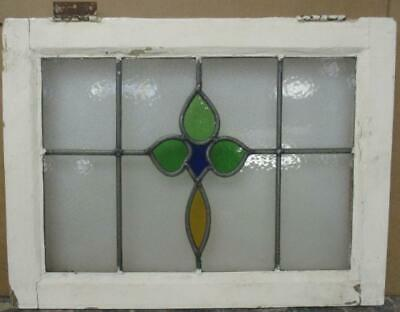 "MIDSIZE OLD ENGLISH LEADED STAINED GLASS WINDOW Abstract Floral 22.75"" x 17.25"""