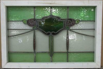 "OLD ENGLISH LEADED STAINED GLASS WINDOW TRANSOM Stunning Floral 27.5"" x 18.75"""