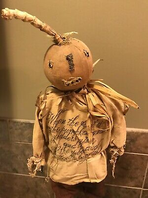 Primitive Folk Art Pumpkin Doll Made By Dru At A Fine Farmhouse