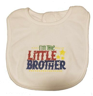 New Blue Embroidered Baby Boy Little Brother 100% Cotton Bib