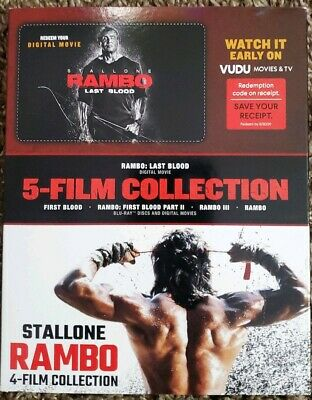 Rambo 4 Film Collection Blu-Ray + Digital. Not included Rambo: Last Blood.