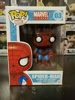 Funko Pop! Marvel Universe Spider-Man #03 Vinyl Bobblehead WITH PROTECTOR!