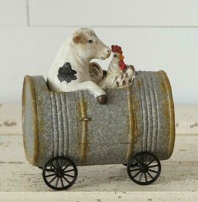 Primitive Cow and Chicken Riding in Can Farm Animal Figurine Farmhouse Country