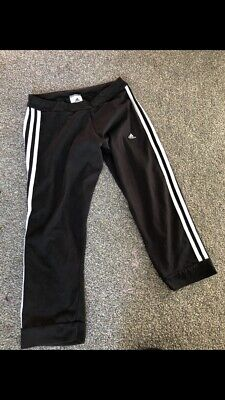 Ladies Girls Adidas Black 3 Stripes Leggings Size 8-10 Small Loose Fit Bottoms