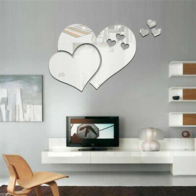 10Pcs Love Heart Shaped Wall Sticker Mirror Decal Removable Bedroom Decor