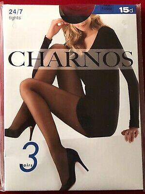 3 Pair Pack Charnos 24/7 Tights pantyhose Black Sheer 15 Denier X Large