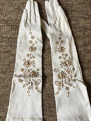 True Vintage 1950s Embroidered Evening Gloves Size 7