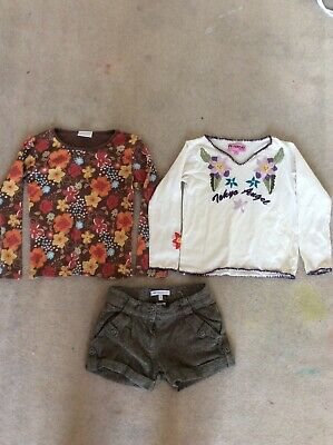 Girls bundle: 2 long sleeved tops and shorts M&S age 7-8 Y.o. great conditions
