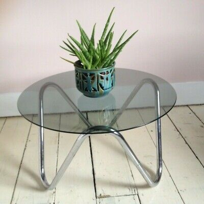 Retro vintage mid-century 70s 80s smoked glass & chrome coffee side table