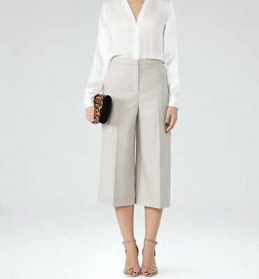 New Reiss Ally Grey Flannel Wool Culottes Trousers UK 10 RRP £135