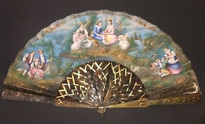 Antique Victorian Hand Painted Scene Carved Horn Gold Gilt Fan