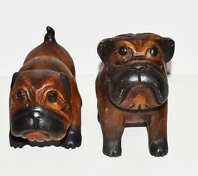 """2 Vintage Wooden Carved Heavy  Bull Dogs 8.5 x9"""" & 8 x 5.5"""" Mama & Baby"""