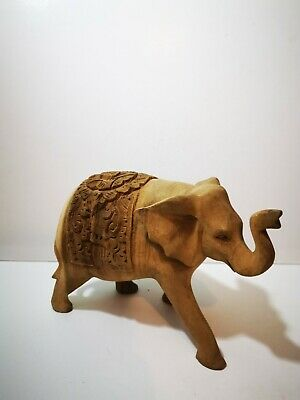 Indian Wooden Carved Elephant Medium Size Handmade Art Home Room Decor