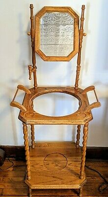 """Vintage Solid Oakholder with Mirror and Candleholders Twisted Spindles 54"""" tall"""