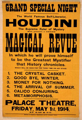 M51 Vintage Harry Houdini Magic Theatre Poster A1 A2 A3
