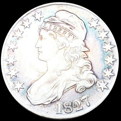 1827 Capped Bust Half Dollar ABOUT UNCIRCULATED Philly Colorful 50c Silver Coin!