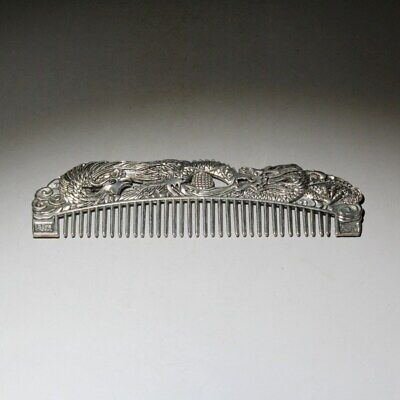 Collection China Miao Silver Hand-Carved Delicate Dragon & Phoenix Delicate Comb