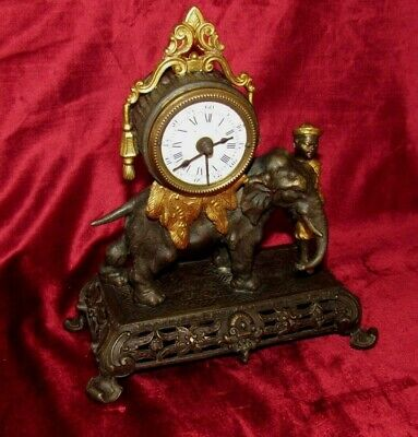 Excellent French Gilded Mantle Clock With Oriental Man And Elephant