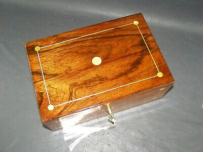 Antique Rosewood Box Mother Of Pearl Roundels Working Lock & Key c1870