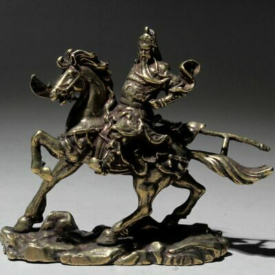 Collectable Old Brass Handwork Carve China Guanyu Riding Horse Auspicious Statue