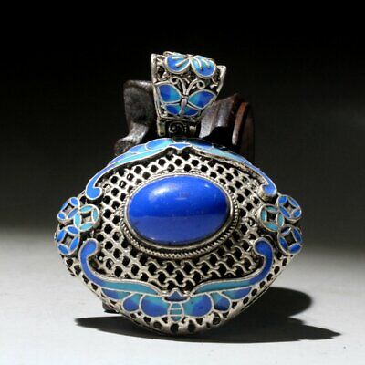 Collectable China Old Miao Silver Cloisonn Mosaic Delicate Auspicious Pendant
