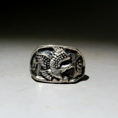 Collectable China Miao Silver Handwork Carve Phoenix Beautiful Interesting Ring