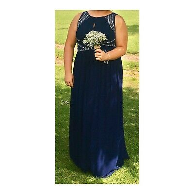 Quiz Detailed Blue Dress Occasion Cruise Prom Bridesmaid Size 20