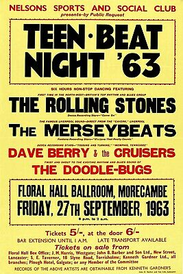 Reprint of vintage concert poster- The Rolling Stones 1963 (A4 size0