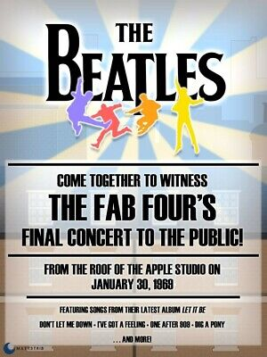 Reprint of vintage Beatles concert poster from their final concert. A4 size