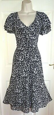 WALLIS Black White Empire Floaty Spring Summer Occasion Party Tea Dress Size 18