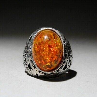 Collectable Chinese Old Miao Silver Handwrk Internal Mosaic Yellow Agate Ring