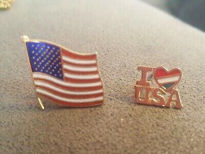 Vintage American Flag And I LOVE USA lapel Pin / Tie Tack