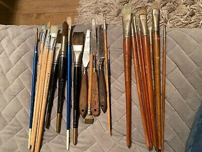 Joblot of 23 x artists paint brushes And Pallet Knifes good quality
