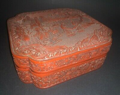 Fine Antique Vintage Chinese Carved Red Lacquer Cinnabar Landscape Geisha Box