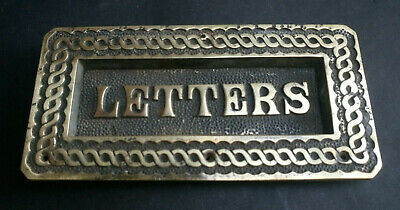 Antique Victorian Brass Letter Box Raised Letters To Flap Mail Box Original
