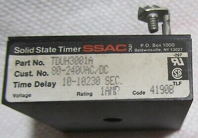 NEW SSAC TDUH3001A Solid State Timer Time Delay 10-10230 SEC 100-240VAC//DC 1A