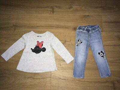 Gap Girls Disney Mickey Minnie Mouse Top & Jeans Bundle Outfit - Age 2- 3 Years