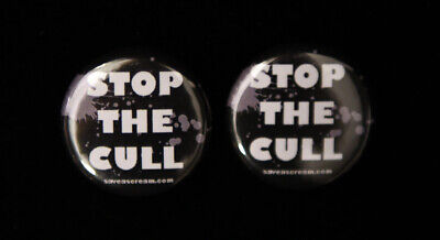 2 MEAT IS MURDER /& STOP THE CULL animal rights badges 25mm vegan