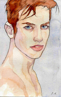 ORIGINAL YOUNG MALE PORTRAIT  Watercolor - VINCENZO - by GERMANIA