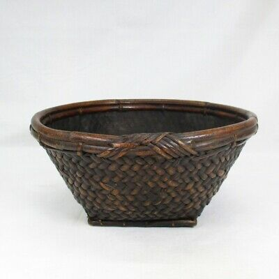 F944: Chinese old SUMIKAGO basket of bamboo weaving with wonderful taste