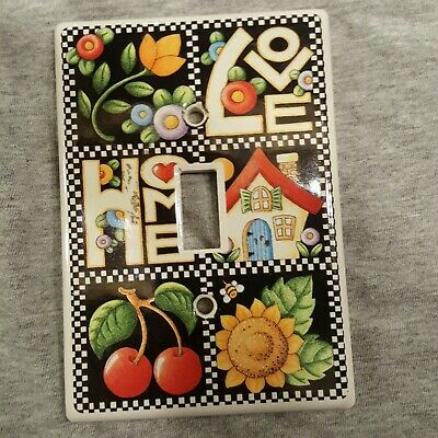 VTG Mary Engelbreit SINGLE Ceramic Light Switch Plate Cover Country Farm House