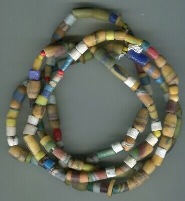 African Trade beads old Ghana Krobo sandcast or powder glass beads long strand