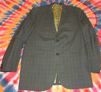 Killer 1960s Sport Coat Blazer Plaid with Paisley Liner Size 40 Light Weight