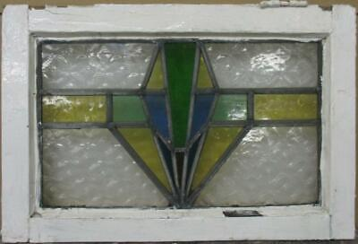 """OLD ENGLISH LEADED STAINED GLASS WINDOW Stunning Geometric Design 20"""" x 13.25"""""""