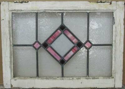 "MIDSIZE OLD ENGLISH LEADED STAINED GLASS WINDOW Stunning Diamond 22.5"" x 16.25"""
