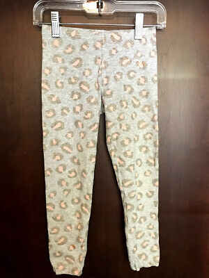 Faded Glory Girl's Grey Pink Leopard Print Leggings Size S 6-6X