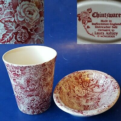 Laura Ashley Made in Staffordshire-England 'Chintzware Pink' Soap Dish & Tumbler