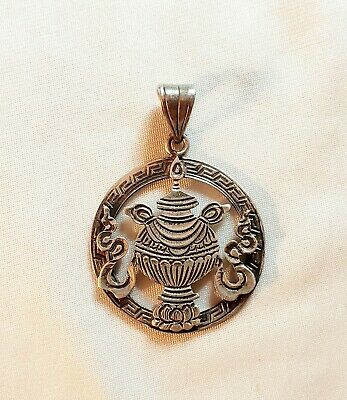 Vintage Antique Chinese Sterling Silver Lotus Flower & Urn Amulet Pendant
