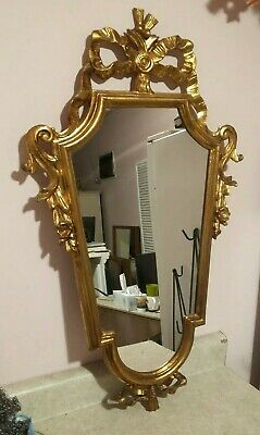 """Venetian-made in Italy-Depoze Vtg Ornate gold Carved Wood wall Mirror-large 33"""""""