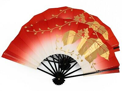 Vintage Japanese Geisha Odori 'Maiogi' Folding Dance Fan Set Pauwlonia: Feb20-I